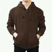 Best seller !!! Jaket Sweater Polos Hoodie Zipper/Resleting Coklat
