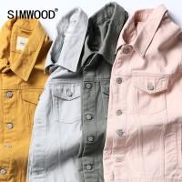 SIMWOOD Denim Jacket Men Fashion 100 Cotton Trucker Jackets Slim