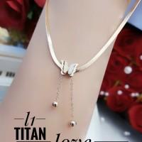 Titanium kalung lapis emas 24k 818a