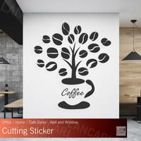 Sticker Cutting Coffee dinding kaca Quotes Cafe Pohon Kopi Stiker kafe