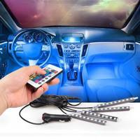 Lampu LED Kolong Dashboard Kabin Interior Mobil Remote RGB Warna Warni