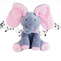 SP88-24 Sing Peek a Boo Elephant Doll Boneka Gajah Cilukba Nyanyi - PI