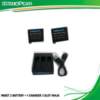 PAKET 2 BATTERY + 1 CHARGER 3 SLOT NINJA RECOMMENDED FOR GOPRO HERO 4
