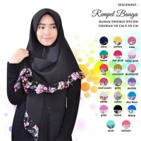 Jilbab Hijab Kerudung Segiempat Rempel Motif Katun Bunga Polos Murah