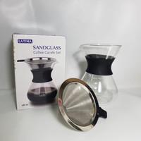 Latina Sandglass Carafe Set Stainless Metal Dripper and Server 400ml