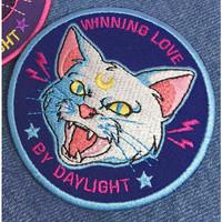 Cat Winning 8x8cm Iron Patch Bordir Tempel Emblem Bordir Patches Sew