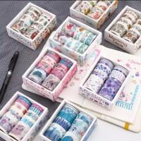 10Pcs Selotip Kertas Masking Washi Tape Paper Colorful (Beda Uk.)