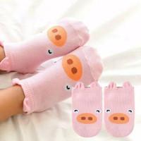 Kaos Kaki Bayi Korea Anti Slip 3D Motif Karakter Binatang - Pink Piggy, 18-24 Bulan