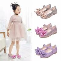 Sepatu Flat Pesta Elegan Pita Glitter Murah Balita Anak Perempuan Cewe