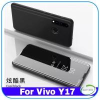 Casing Vivo Y17 Y 17 Clear View Standing Premium Luxury Case