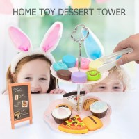 Kids Girl Cake Cookies Dessert Tower Toy Set Pretend Play Gift OCE