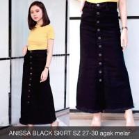Rok Jeans Wanita Anissa Black Skirt Button Stretch Melar Panjang