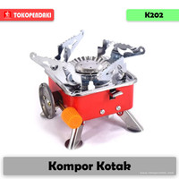 K202 Kompor Kotak Camping Portable Alat Masak di Gunung Nyala Api Biru