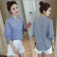 Grosir [Sanghai stripe RO] blouse wanita katun stirpe navy dan hitam