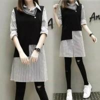 Good Quality Dress Baju Abg Hennie Lengan Panjang Wanita Atasan Kemeja