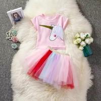 Setelan Baju Anak Bayi Impor / Baju + Rok Tutu Unicorn Rainbow