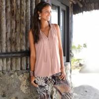 Aute European And American Women's V-neck Sleeveless T-shirt