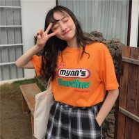 Aute Season New Korean Ins Women's Letter Print Short-sleeved