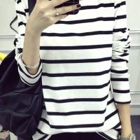 Aute Casual Women Striped Crew Neck V-Neck Long Sleeve