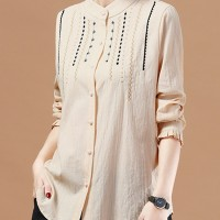 Aute Casual Women Stand Collar Embroidered Button