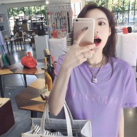 Aute Loose Purple Embroidered Letters Short-sleeved T-shirt