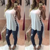 Aute New Chiffon Shirt Shirt Blanca Short Short Bandage