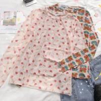 Aute Women's Season New Flower Print Long-sleeved Thin T-shirt