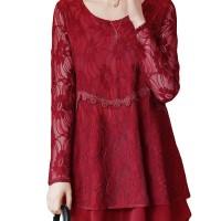 Aute Elegant Women Lace Double Layers Long Sleeve Asymmetric