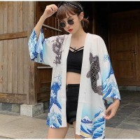 Cardigan Kimono Lengan Panjang Jepang Bikini Outer Blazer Wanita Murah