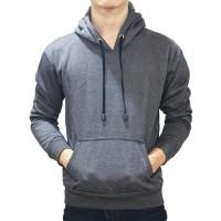 Jaket Sweater Polos Hoodie Abu Tua Jumper Unisex Full Colours Pria