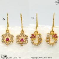 P142 Anting Berlian Kristal Zirconia Perhiasan Imitasi Xuping Emas