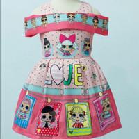 Dress Sabrina Baju anak perempuan LOL pink LOVE