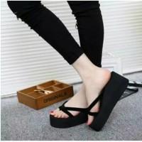 Sandal Wedges Spons Silang / Sandal wanita / Sendal wanita