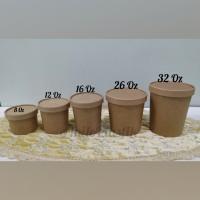 Food Grade Brown Kraft Paper Bowl 12 Oz + Lid
