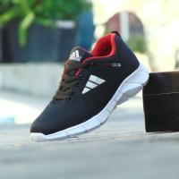 Sepatu Sport Casual Pria Adidas Running - Hitam Merah - Pria Wanita