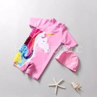 Baju renang bayi unicorn satu set dengan topi swimsuit import 1-7thn