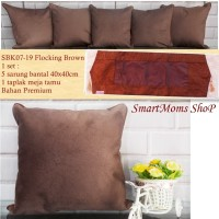 SARUNG BANTAL SOFA KURSI POLOS MINIMALIS MODERN PREMIUM FLOCKING BROWN