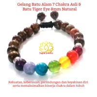 Gelang Batu 7 Cakra / Chakra Asli & Batu Tiger Eye 8mm Natural.