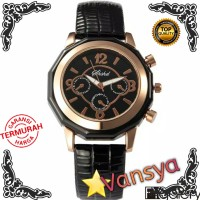 JAM TANGAN SHSHD FASHION WANITA/PRIA ROSE GOLD LEATHER STRAP QUATZ