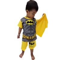Setelan Pendek Batman Kuning Kaos Baju Anak Laki Laki Cowok Superhero - 4