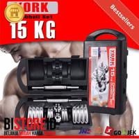 KHUSUS GOJEK Barbel / Dumbel / Dumble Chrome York Set 15kg