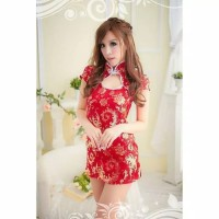 L-1381 Lingerie Red Cheongsam Chinese New Year Woman Costume Cosplay