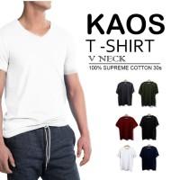 Kaos Polos   Basic Tee   T Shirt   V-NECK SUPREME COTTON 30S  SLIM FIT - Hitam Reaktif, M