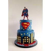 Kue Ulang Tahun Superhero Fondant 2 Tier