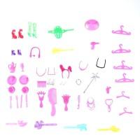 IZ 50Pcs Set Mainan Sepatu Gantungan Baju Sisir Gelang Tas Cermin Alat