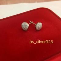 giwang/anting tusuk perak925 berlapis emas putih/perhiasan silver925