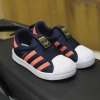 Sepatu Anak adidas superstar 360 slip on original navy oren