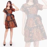 Dress Midi Batik Maubela Short Dress Wanita