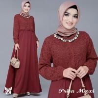Gamis / Maxi / Busana Dress Wanita Muslim Prita Brukat lapis Jersey HQ