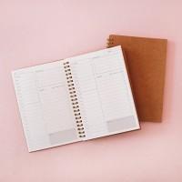 Kraft Cover Spiral Daily Planner / Buku Planner Harian / Buku Catatan